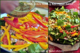 Rocket, White Bean and Bell Pepper Salad Collage