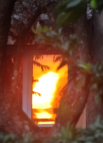 Sunrise - reflected in Mom's kitchen window!